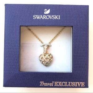 Swarovski |Gold heart cristal pendant necklace NWT